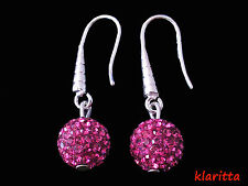 Shamballa Fuchsia Crystal Disco Ball Drop Earrings NEW CC152