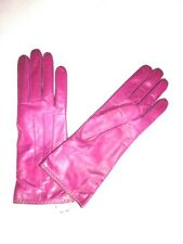 $98 COACH Women's Cashmere Lined Leather Basic 7 fuchsia pink gloves 83875