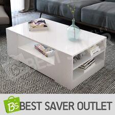 Modern High Gloss Coffee Table Storage Shelf Cabinet 2 Drawers Furniture White