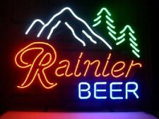"""New Rainier Beer Mountain Neon Light Sign 20""""x16"""" Beer Cave Bar Real Glass"""