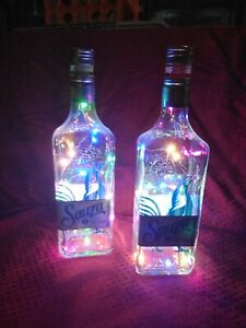 Set of 2 Up Cycled Multi-Color LED Sauza Silver Tequila Bottle Lamp, Bar, Mood