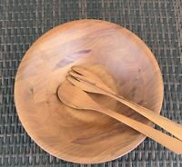 "VINTAGE BURL WALNUT #55 Billings MISSOURI WOOD 13.5"" Salad  BOWL & UTENSILS"