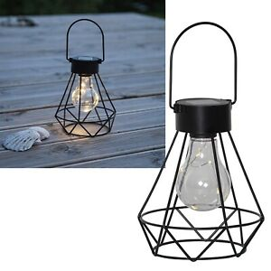 """LED Solar Tischleuchte """"EDDY"""" Glühbirne Tisch-Laterne Retro Leuchte für Garten"""