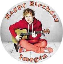 """Ed Sheeran  7.5"""" ROUND  EDIBLE PERSONALISED CAKE TOPPER ON ICING SHEET"""