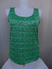 Jones New York Green Stripe Print Sleeveless Knit Tank Top Shell Blouse 0X #811