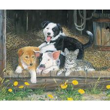 **SALE** Barnyard Friends, Dog Cat Piglet Digital Print Cotton Fabric Panel.