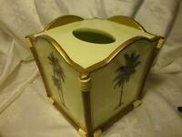 Ceramic Tissue Box Cover Holder Palm Trees Beach Bamboo Tropical Home Decor  399