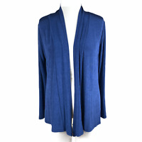 NWT ~ Voyage by COMO Cardigan Size Large Blue Slinky Travel Knit Open Jacket