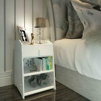 3 Layer End Side Bedside Table Nightstand Organizer with Drawer Storage White