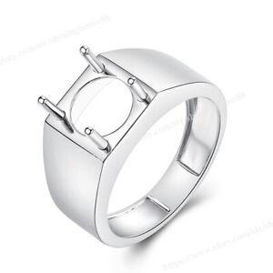 Fashion Design Men's Jewelry Solid 18k White Gold Ring Round Cut 10mm Semi Mount