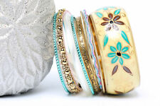 Women's Fashion Artsy Bohemian  Wide Bangle Bracelet Set Gold/Multi
