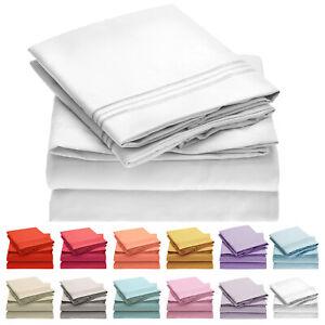 Mellanni 4-Piece Bed Sheet Set- Deep Pocket, Wrinkle, Stain Resistant Microfiber