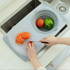 Kitchen multi Functional thick plastic chopping board 2-In-1 Sink Cutting Board