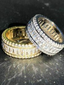 Solid 925 Silver Baguette Diamond Tennis Wedding Band Ring His Hers Gold ICY