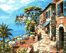 "CAFE AL FRESCO PAINT BY NUMBERS CANVAS PAINTING KIT 20 x 16"" FRAMELESS LANDSCAPE"
