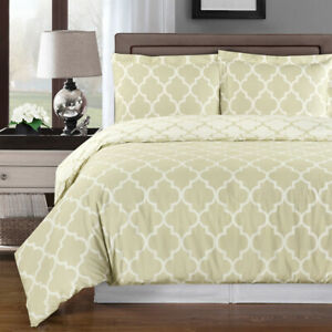 8PC 100% Cotton Meridian Bed in a Bag- Duvet Set- Sheets & White Comforter