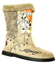 Ed hardy boots Size 7 Suede With Faux Fur Lining Skeletons And Hearts 040-077168