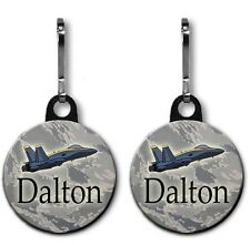 Two Pack Personalized Military Jet Zipper Pulls with 1.5 Inch Charm