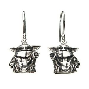 CARVED STERLING SILVER Star Wars Mandalorian Baby Yoda The Child Earrings NEW