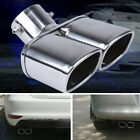 """63mm/2.5"""" Stainless Steel Chrome Car Dual Exhaust Tip Square Tail Pipe Muffler"""
