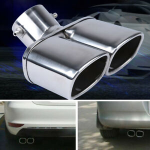 "63mm/2.5"" Stainless Steel Chrome Car Dual Exhaust Tip Square Tail Pipe Muffler"