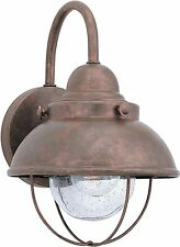 Seagull Sebring 1 Light Weathered Copper Outdoor Wall Lantern Light Seeded Glass
