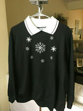 NWOT Haband Christmas Sweater Party Sweatshirt Black w/White Collar Womens Sz XL