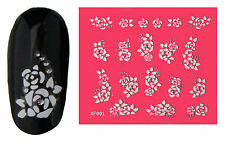 White Flowers (01) 3D Nail Art Stickers Water Transfers Decals Buy 2 Get 1 Free