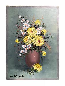 Vintage Artwork of Flowers - Original Oil on Board