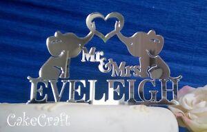 Mirrored Acrylic Elephant Wedding,anniversary,engagement cake topper decoration