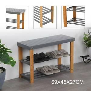 3Tier Grey Shoe Rack Seating Bench Hallway Storage Organiser Holder Stand Bamboo
