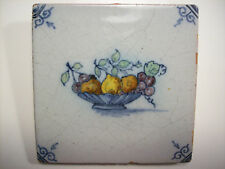 Dutch Tile Antique Delfts Blauw Delft Blue Fruit Basket