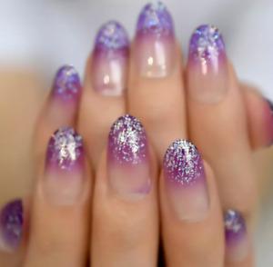 24/1 French Manicure Short / Medium / Long Full Cover False Fake Nails Tips Glue