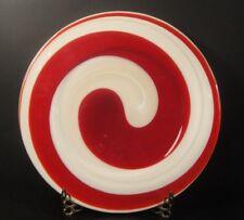"Murano Italy Art Glass Swirl Platter Bowl Yalos Casa Red White Milk Charger 12"""