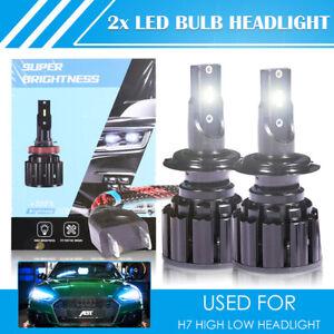 2X H7 LED Aluminum Headlight Bulb Kit High Low Beam 6500K Super White 200000LM