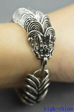 Collectable Handwork Old Miao Silver Carve Dragon Hover Exorcism Lucky Bracelet