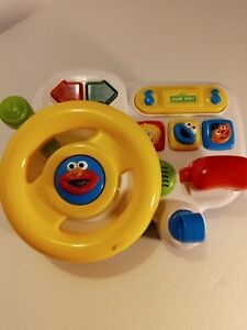 Vintage Tyco Sesame Street Elmo Steering Wheel Driving Toy~1997~ Lights & Sounds