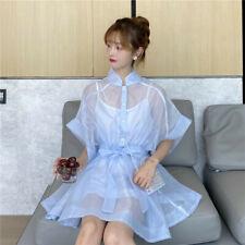 Korean Womens 2pcs/set Short Shirt Dress  See Through Half Sleeve High Waist