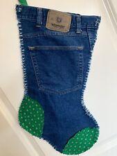 "20"" Wrangler Blue Jeans Denim Upcycled Rag Christmas Stocking Western Cowboy #5"
