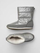 GAP Baby / Toddler Girls Size 8 Metallic Sherpa Puffer Snow Boots Booties Shoes