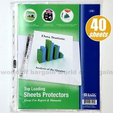40 Top Loading Clear SHEET PROTECTORS Fits 3 Ring Binder 8.5 x 11 Paper Page C57