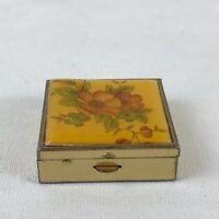 Poppy Floral Pill Box Metal Enamel Square Goldtone VTG