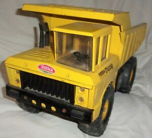 """Vintage 1960's 1970's ?  Mighty Tonka Dump Truck 18.5"""" Yellow Pressed Steel and"""