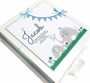 Personalised LARGE Baby Boy's Keepsake Box, Memory Box. New Baby Gift, Elephant