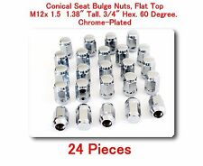 """24 Pc Conical Seat Bulge Nuts Flat Top M12x1.5 Tall 1.38"""" 3/4"""" Hex. 60 Degree"""