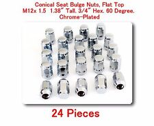 "24 Pc Conical Seat Bulge Nuts Flat Top M12x1.5 Tall 1.38"" 3/4"" Hex. 60 Degree"