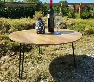 Rustic Round Side Table/Coffee Table/Solid Wood/Lamp Table/Hairpin Legs/41x71x71