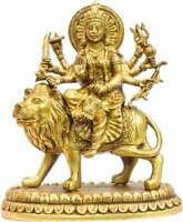 "durga statue Antique brass india hand made hindu goddess religious figure 10"""