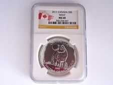 2011 CANADA NGC MS 68, 5 Dollar Wolf .999 Silver Coin