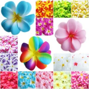 30 100 HAWAIIAN PLUMERIA FRANGIPANI ARTIFICIAL SILK FLOWER HEAD DECOR  WEDDING